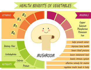Cute infographic page of Health Benefits of Mushroomlike vitamins, minerals, nutrients