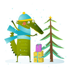 Crocodile wearing winter warm clothes celebrating holiday