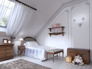 Luxury classic bed in the nursery with brown drawers and bedside
