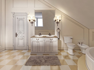 Beautiful and bright bathroom in Provence style with beige furni