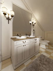 White bath sink with large mirror and sconces on the sides of th