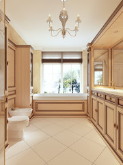 Bathroom in classic style with large window and wooden bathroom