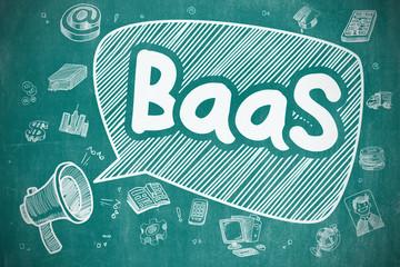BaaS - Hand Drawn Illustration on Blue Chalkboard.