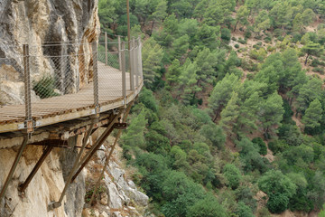 El Caminito del Rey dangerous footpath over wall