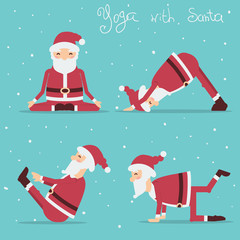 Santa Claus doing yoga.Vector holiday illustration