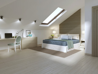 Large bedroom on the attic floor in a modern style.
