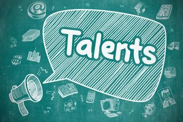 Talents - Doodle Illustration on Blue Chalkboard.