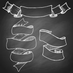 Set of vintage hand drawn curly ribbons on black chalkboard background. Vector illustration.