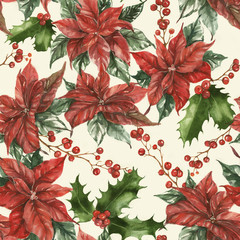 Hand-drawn watercolor seamless holiday pattern with different poinsettia flowers, leaves and berries. Repeated vintage background. Christmas decorative poinsettia flowers, leaves, holly and berries.