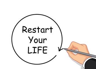 hand writing Restart your life
