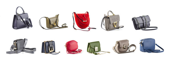 group of color leather women purses isolated on white background