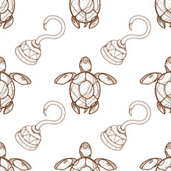 Seamless pattern for design surface Sea turtles.