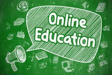 Online Education - Cartoon Illustration on Green Chalkboard.