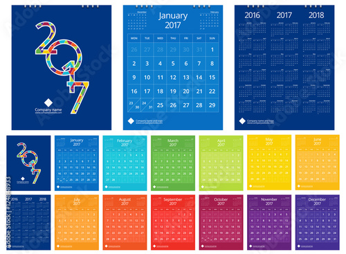 2017 calendar new year 12 months set with cover design front and
