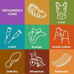 Vector set line icon orthopedic insole