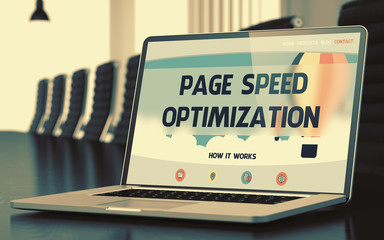 Page Speed Optimization Concept on Laptop Screen. 3D.