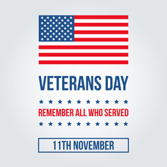 Veterans Day card with american flag template, background.