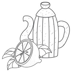 Kettle for coffee or cocoa with lemon outline drawing.