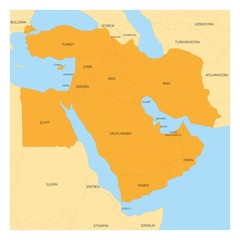 Map of Middle East or Near East transcontinental region with orange highlighted Western Asia countries, Turkey, Cyprus and Egypt. Flat map with yellow land, thin black borders and blue sea.