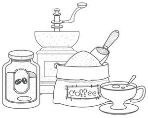 Vintage manual coffee grinder, glass jar for coffee storage, coffee bag and cup outline drawing.