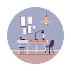 Retro interior with a working table, pictures on the wall in a circle. Cartoon vector flat-style interior illustration, copy space for text or picture in the frame