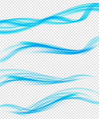 Set of Abstract Blue Wave Set on Transparent  Background. Vector