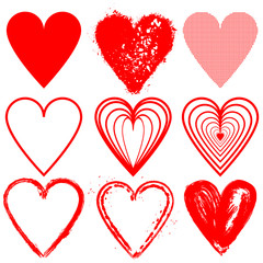 Set of red vector hearts shape cartoon icons.