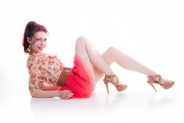 Red hair pinup