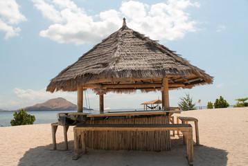 bamboo hut as a bar on the beach, Indonesia