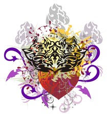 Grunge rhino heart with arrows. The heart formed by the heads of rhinoceroses against the decorative sun and red heart with colorful splashes and blood drops