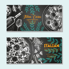 Italian food vintage design template. Horizontal banners set. Vector illustration hand drawn linear art. Italian Cuisine restaurant menu. Hand drawn sketch vector flyers.