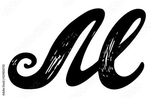 Letter M Calligraphy Alphabet Typeset Lettering Hand Drawn