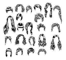 Hand drawn set of different women s hair styles.