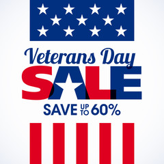 Veterans Day Sale banner or poster template. Big sale, special offer