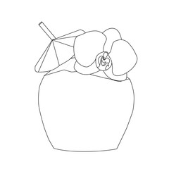 Coconut cocktail with umbrella outline. Vector illustration