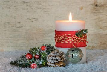 Weihnachten Dekoration Kerze Schnee Winter Weihnachtszeit