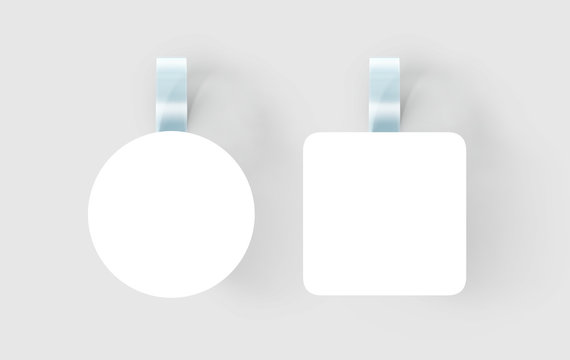Blank white wobbler hanging on wall mock up, clipping path