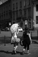 white parasol bw