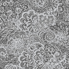 Floral doodle tattoo background. Illustration with paisley ornaments. Hand-drawn flowers. Universal backdrop for everything.