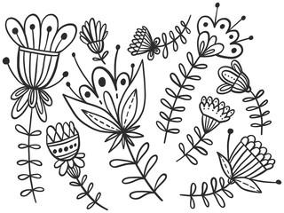 Zentangle flowers line art