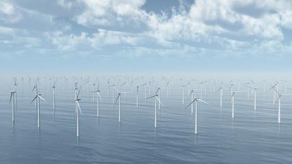 Ansammlung von Windkraftanlagen im Meer
