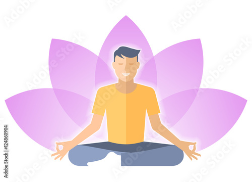 Young man meditates in the lotus pose male person is sitting on a young man meditates in the lotus pose male person is sitting on a lotus flower mightylinksfo