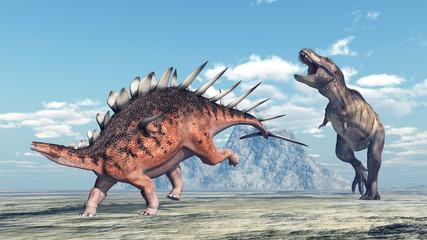 Tyrannosaurus Rex attacks Kentrosaurus