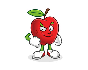 Confident apple mascot. Vector of Apple character. Apple logo