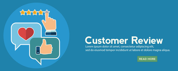 Business customer care service concept, rating on customer service and review flat