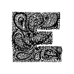Letter E. Decorative Alphabet with a paisley zen doodle tattoo ornaments filling. Display font and numbers. Hand drawn letters in vintage style. Used for quote lettering.