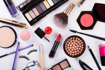 top view of makeup cosmetics set