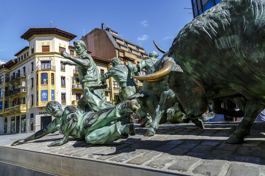 Statue of Encierros in Pamplona Spain