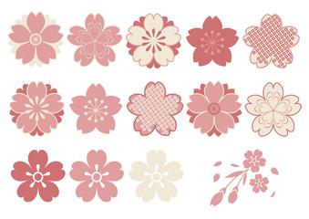 和風 桜パーツ素材 ピンク