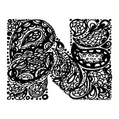 Letter N. Decorative Alphabet with a paisley zen doodle tattoo ornaments filling. Display font and numbers. Hand drawn letters in vintage style. Used for quote lettering.